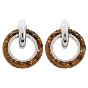 Burberry Caramel Marbled Resin Palladium Plated Double Grommet Earrings