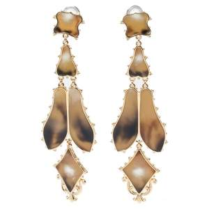 Burberry Light Gold Resin Regal Butterfly Drop Earrings