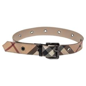 Burberry Beige Nova Check PVC and Leather Belt 80CM