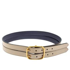 Burberry Beige/Blue Leather Lynton Double Strap Belt 80CM