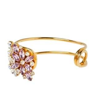 Burberry Daisy Pale Lavender Crystal Gold Tone Open Cuff Bracelet