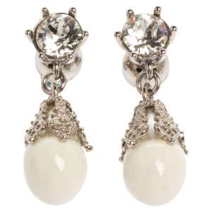 Burberry Palladium Plated White Faux Pearl Teardrop Earrings