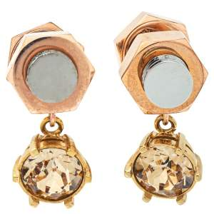Burberry Two Tone Crystal Nut & Bolt Drop Earrings