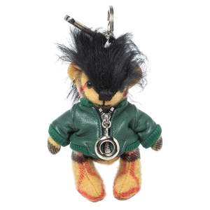 Burberry Beige & Green Thomas Biker Bag Charm / Keyring
