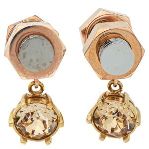 Burberry Two Tone Topaz Crystal Nut & Bolt Drop Earrings