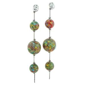 Burberry Palladium Plated Marbled Resin Ball Charm Graduated Earrings