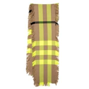 Burberry Yellow & Beige Half Mega Check Fringed Wool Stole