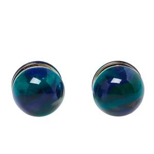 Burberry Green Marbled Resin Sphere Silver Tone Stud Earrings