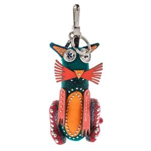 Burberry Multicolor Rufus Cat Studded Key Charm