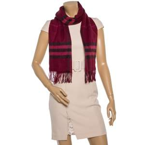 Burberry Burgundy Giant Check Fringed Cashmere Scarf