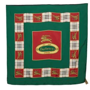 Burberry Red & Green Horse Crest Print Silk Scarf