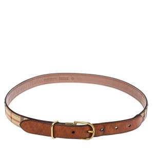 Burberry Beige/Brown Haymarket Check Canvas and Leather Slim Belt 75CM