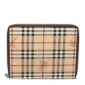 Burberry Beige/Brown Haymarket Check PVC Zip Around iPad Case