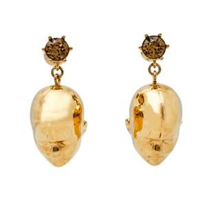 Burberry Gold Plated Doll Head Drop Earring