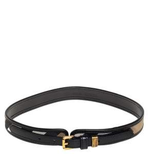 Burberry Black/Beige Nova Check Canvas and Leather Slim Belt 70 CM