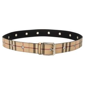 Burberry Beige Nova Check Coated Canvas Eyelet Buckle Belt 100 CM