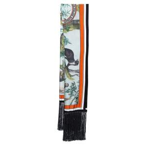 Burberry Multicolor Monkey Printed Fringed Silk Capelet
