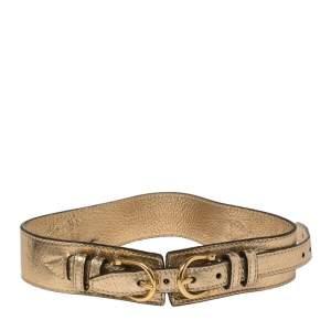 Burberry Gold Crinkled Leather Waist Belt 70CM