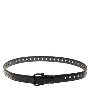 Burberry Black Patent Leather Diamond Laser Cut Buckle Belt 100CM