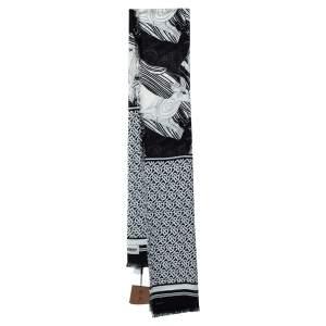 Burberry Monochrome Deer Monogram Print Silk Wool Scarf