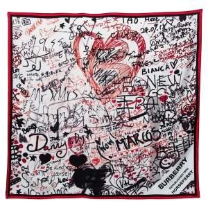 Burberry Multicolor Graffiti Print Silk Square Scarf