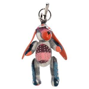 Burberry Multicolor Cashmere and Leather Sandra The Basset Hound Bag Charm/Key Ring
