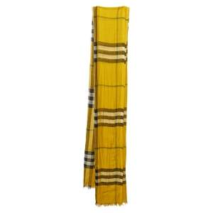Burberry Mustard Yellow Giant Check Modal Blend Scarf