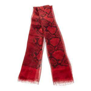 Burberry Red Python Print Sheer Silk Scarf