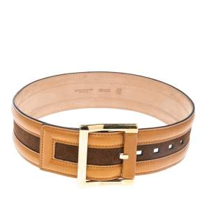 Burberry Tan/Brown Leather and Suede Waist Belt 70 CM