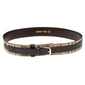 Burberry Brown/Beige Haymarket Check Coated Canvas and Leather Buckle Belt 90CM
