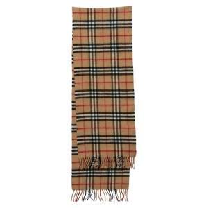 Burberrys Vintage Beige Nova Check Wool Fringed Muffler