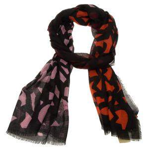 Burberry Maroon & Black Graphic Leaf Print Cashmere and Silk Scarf
