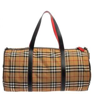 Burberry Black/Beige Vintage Check Nylon and Leather Large Barrel Bag