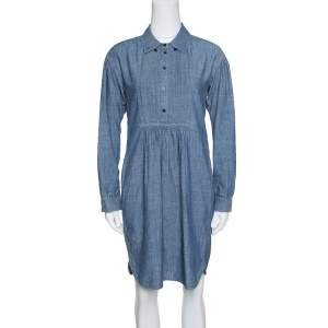 Burberry Brit Indigo Chambray Pintuck Detail Shirt Dress S