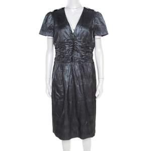 فستان بربري لندن جاكار فضي ميتاليك رقبة واسعة أكمام قصيرة M