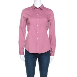 Burberry Brit Pink Stretch Cotton Button Front Shirt S