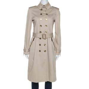 Burberry Beige Gabardine Double Breasted Trench Coat S