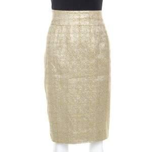 Burberry Metallic Jacquard Lame Pencil Skirt L