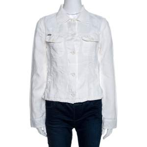 Burberry Off White Linen Pocket Detail Button Front Shirt S