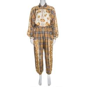 Burberry Beige Nova Check Printed Silk Twill Jumpsuit S