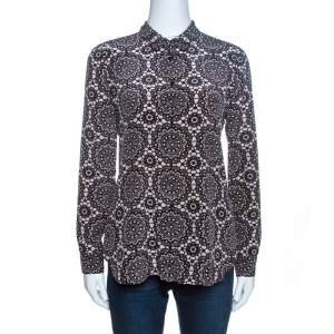 Burberry Bicolor Kensington Lace Print Silk Long Sleeve Shirt S