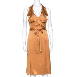 Burberry Bronze Silk Satin Ruffled Wrap Dress S