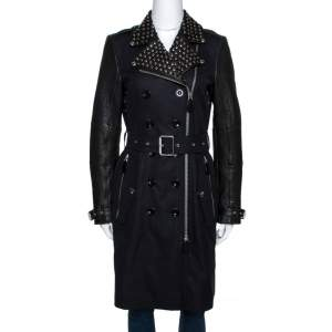 Burberry Brit Black Leather Trim Studded Trench Coat S