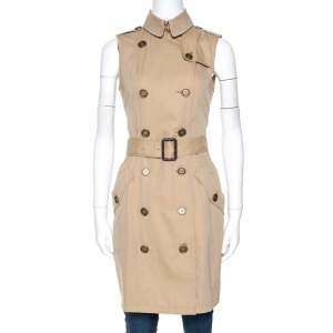 Burberry Brit Beige Cotton Sleeveless Trench Coat S
