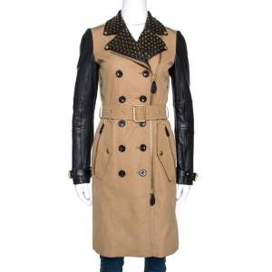 Burberry Brit Bicolor Cotton Leather Trim Studded Coat XS