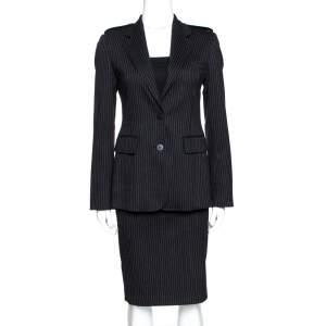 Burberry Black Pinstripe Wool Tailored Skirt Suit S