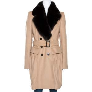 Burberry Beige Cashmere and Fox Fur Lined Belted Coat M