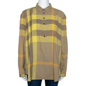 Burberry Brit Yellow Exploded Check Cotton Half Placket Shirt L