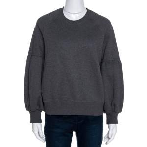 Burberry Dark Grey Knit Balloon Sleeve Jumper XS