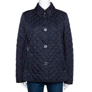 Burberry Brit Navy Blue Diamond Quilted Button Front Jacket M